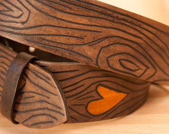 """Leather Belt - Snap belt with removable buckle - """"Wood grain and heart - Nice pattern in orange and antique black -"""