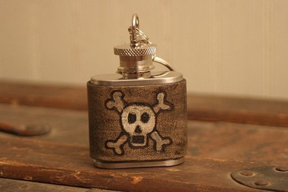 Skull and Cross Bones Leather Mini Flask - antique black, white and silver