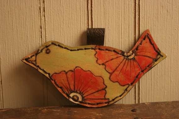 Leather Bird Ornament - Red and Green - Poppy Garden Pattern