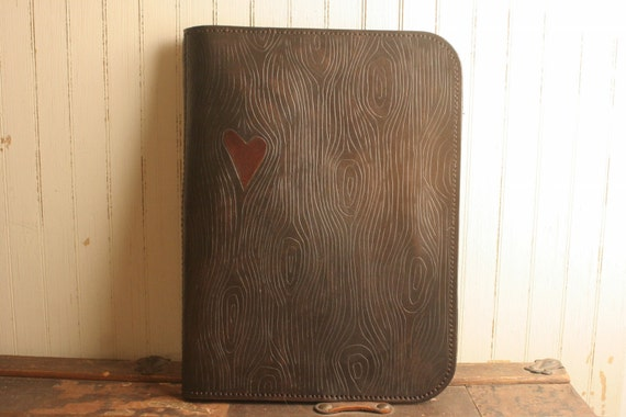 Leather Portfolio in Chocolate Brown and Red - Nice Pattern with woodgrain and heart