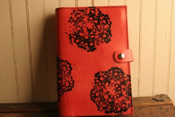 RESERVED FOR KATRINA Leather Journal - Thrifting pattern in red and black