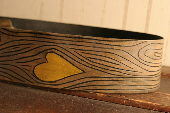 Nice Guitar Strap - Leather in Yellow, Gray and Antique Brown - Wood Grain and Heart
