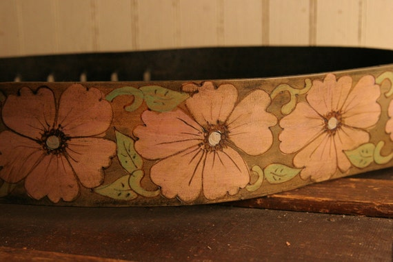 Leather Guitar Strap - Pink, Green and Antique Brown - Belle pattern with flowers