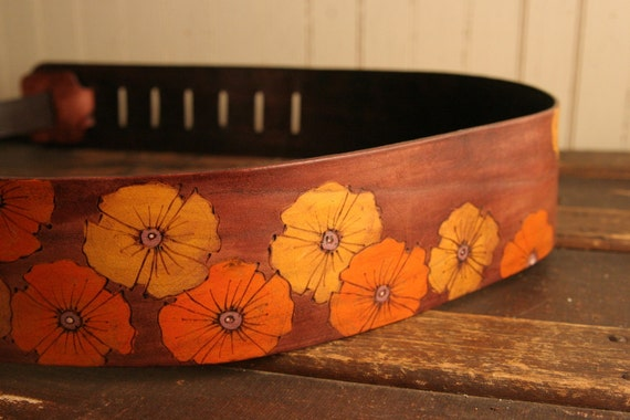 Leather Guitar Strap - Orange, Yellow and Antique Mahogany - Poppy Garden Pattern with flowers
