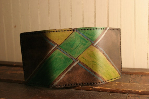 Leather Trifold Wallet - Plaid in Green and Antique Black - Clarke Pattern