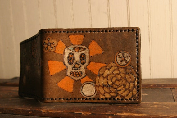Leather Bifold Wallet - Byzantine pattern with skull in orange, white, gold, sage and antique brown