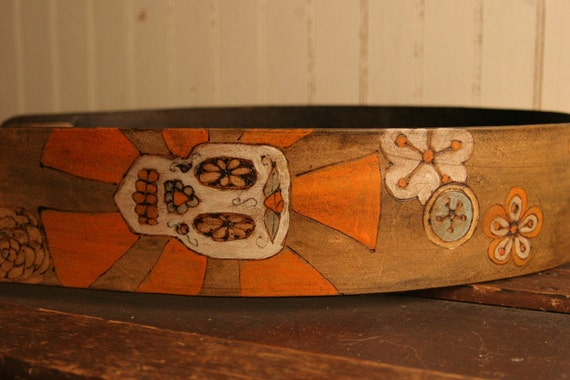 Leather Guitar Strap - Byzantine Pattern in Sage, Orange, White, Gold and Antique Brown