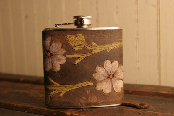 6oz Flask - Linea Pattern - Leather in Purple, White, Orange, Green and Antique Black