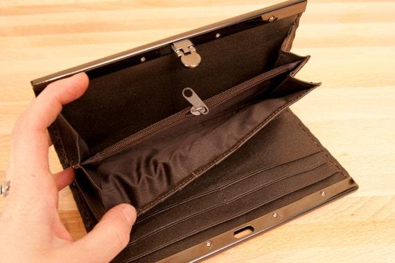 leather checkbook wallet antique black and orange nice