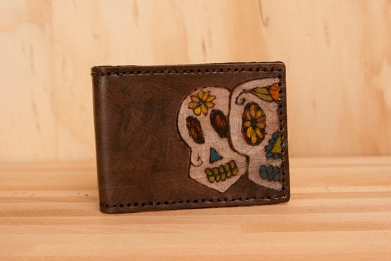 Sugar Skull Bifold Wallet - Leather white, yellow, orange, turquoise, green and antique black