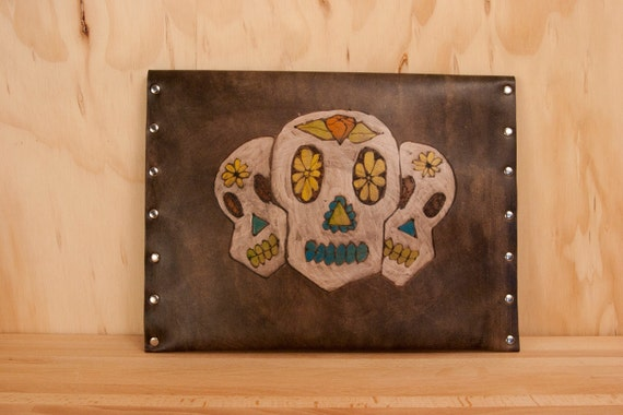 Leather iPad Pouch - Sugar Skull Pattern in white, orange, turquoise and antique black