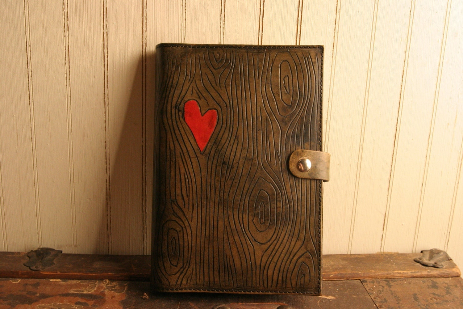 Leather Journal Nice Pattern With Wood Grain And Heart