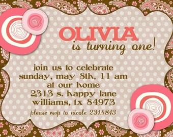 Birthday Party Invitation -- Paisley Posies