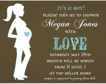 Baby Shower Invitation --  Preggo Silhouette