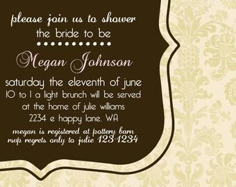 Bridal Shower Invitation or Baby Shower Invitation -- Elegant
