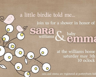 Baby Shower Invitation -- Little Birdie