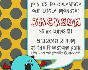 Monster Birthday Party Invitation -- BOY or GIRL -- Little Monster