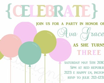 Birthday Party Invitation -- Celebrate