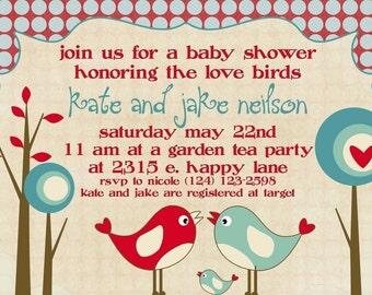 Baby Shower Invitation -- Love Birds