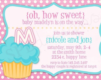 Cupcake Baby Shower Invitation -- How Sweet it Is
