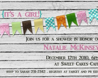 Baby Shower Invitation -- up against the wall