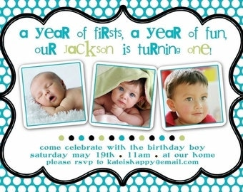 Birthday Party Invitation BOY or GIRL-- year of firsts