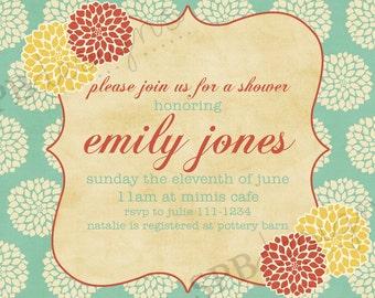 Baby Shower Invitation or Bridal Shower Invitation -- Mums