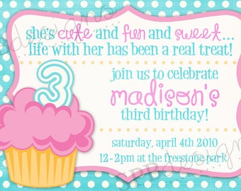 Cupcake Birthday Party Invitation -- Cupcake Cutie