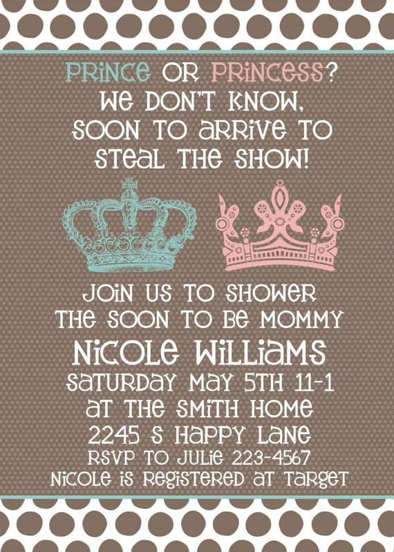 Baby Shower invitation -- Neutral Gender Unknown Shower -- Prince or ...