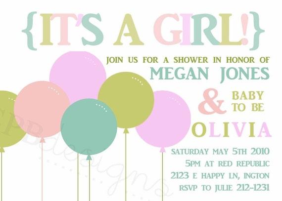 Baby Shower Invitation -- Big Balloons GIRL