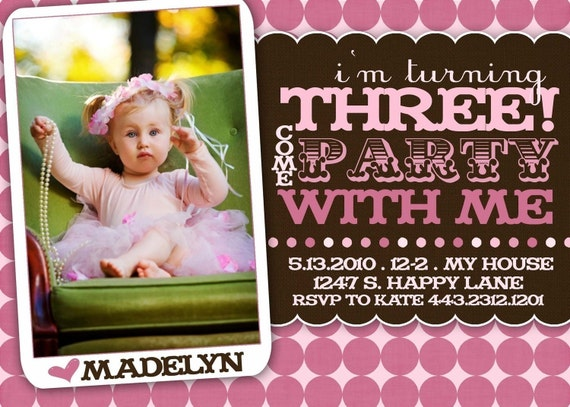 Birthday Party Invitation -- Boy OR Girl -- Party with Me