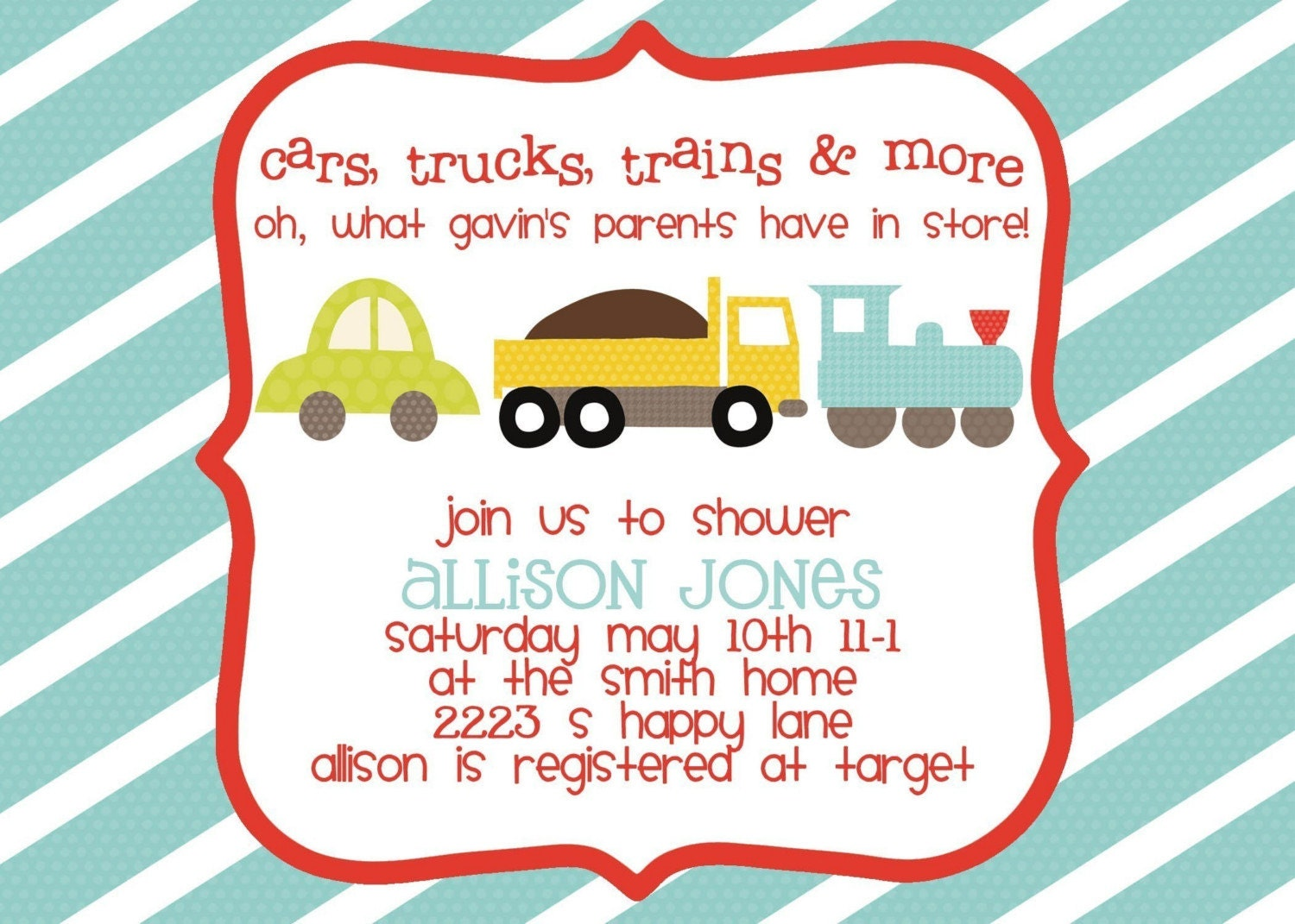 Baby Shower Themes Cars ~ Baby shower invitation cars trucks trains