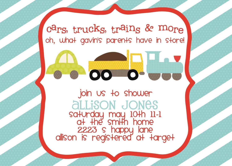 Baby Shower Invitation Cars Trucks Trains