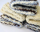 Hand Knit FIVE cloth pack. Blues and browns