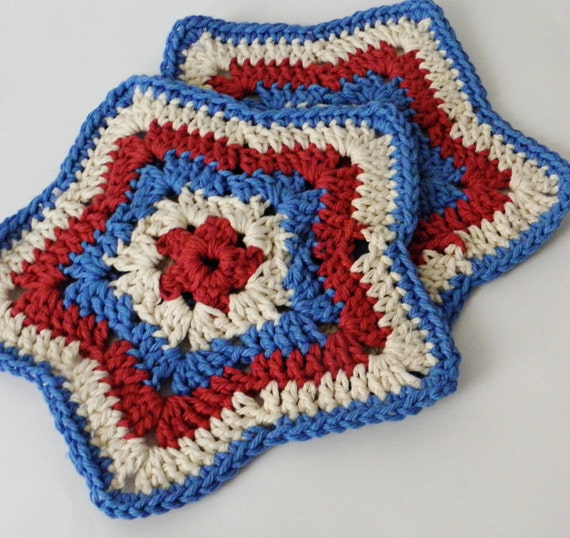 Americana. Set of TWO star wash/dish cloths