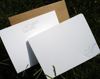 Set of 15 Custom Monogrammed Letterpress Notecards