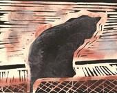 Window Cat - Original Lino Print - Altered
