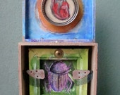 """Egyptian Scarab Beetle and Anatomical Heart Assemblage Sculpture """"Just As The Sun Rolls In The Sky"""" 2012"""