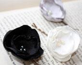Fabric flower bobby pin set of 3, black, gray and white burnt edge bobby pin set, bridesmaid hair accessory