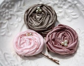 Shabby chic wedding set of 3 fabric bobby pins with rolled satin fabric flowers in pale pink, mauve and caramel by the Paisley Moon on Etsy