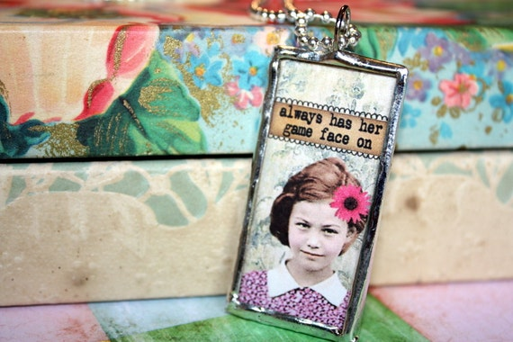 Game Face vintage inspired image solder glass slide pendant charm with silver ball chain necklace by the Paisley Moon on Etsy