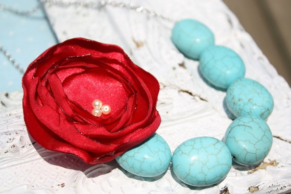 Bridesmaid necklace, Burnt edge fabric flower and bead necklace in turquoise and coral red