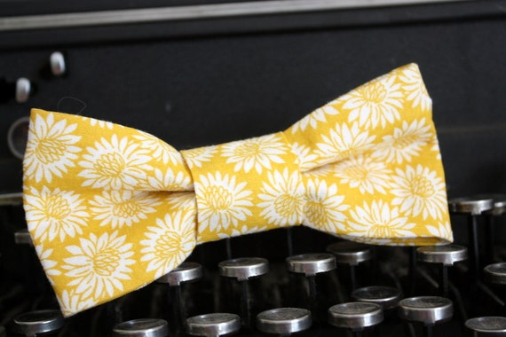 Sweet bow tie for infant boys to men in a mustard gold floral print, photo prop by the Paisley Moon on Etsy