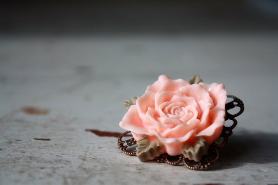 Resin flower brooch pin, peach rose flower cabochon and filigree setting flower pin by the Paisley Moon
