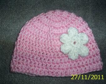 Baby crochet Hat Beanie ,Girl , Newborn Pink with white flower