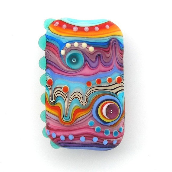 Rainbow Stripes- Lampwork focal bead (1)FREE WORLDWIDE SHIPPING