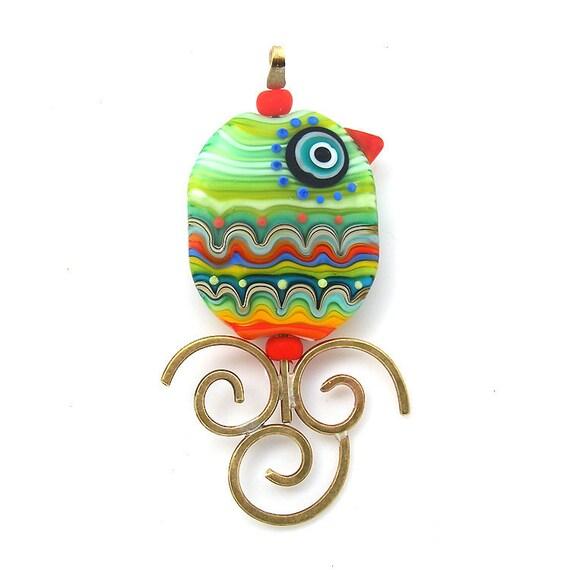 Bird of Paradise- glass Lampwork and brass focal bead/ pendant (1)