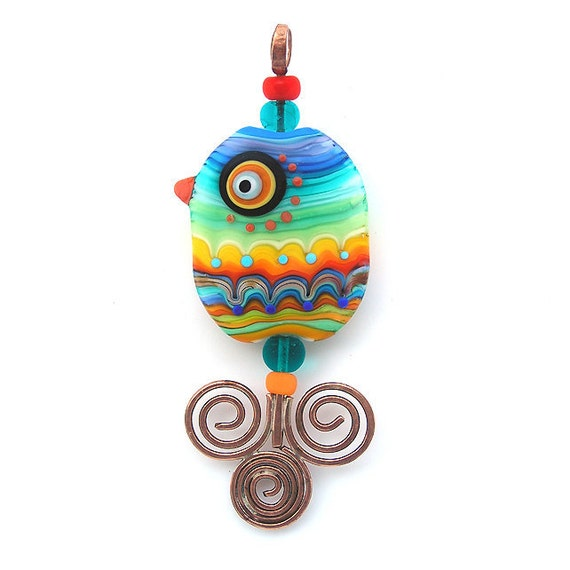 Reserved for Elyse-Bird of Paradise- glass Lampwork and brass focal bead/ pendant (1)