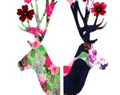 Buy a set of 5 DEER cards and receive a 6th one free / greeting cards with REAL FLOWERS Think Christmas Cards