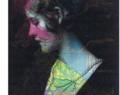 Spring, Map Prints, Repurposed Book Pages,  Beautiful Woman Vintage Photo, Paper Ephemera.home decor, affordable art